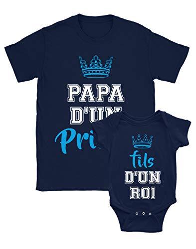 Green Turtle T-Shirts Papa d'un Prince/Fils d'un Roi Ensemble Père Fils H Marine Small/BB Marine 3-6 Mois