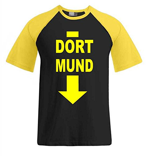 World-of-Shirt Herren T-Shirt Dort Mund Baseball T-Shirt|XXL
