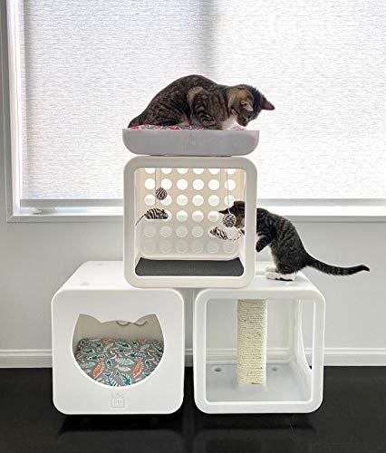Kitty Kasas Standard Snap-On Modular Cat House, Bedroom Cube, White