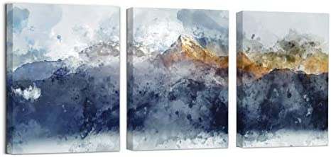 Abstract Canvas Wall Art for Living Room Navy Blue Mountains Theme Painting Picture Artworks product image
