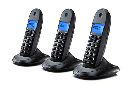 Motorola C1003LB+ Teléfono Fijo DECT inalámbrico Trio - Color Negro - Pantalla LCD, 50 contactos, Modo Eco - 3 Unidades