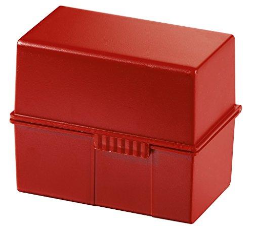 Han 977-17 - Caja para archivar fichas (plástico, capacidad para 300 fichas DIN A7, 121 x 101 x 74 mm), color rojo