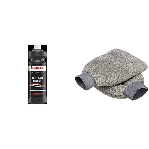 SONAX 06183000 Profiline Actifoam Energy 1L & Amazon Basics Auto-Waschhandschuh, Mikrofaser, 2 Stück