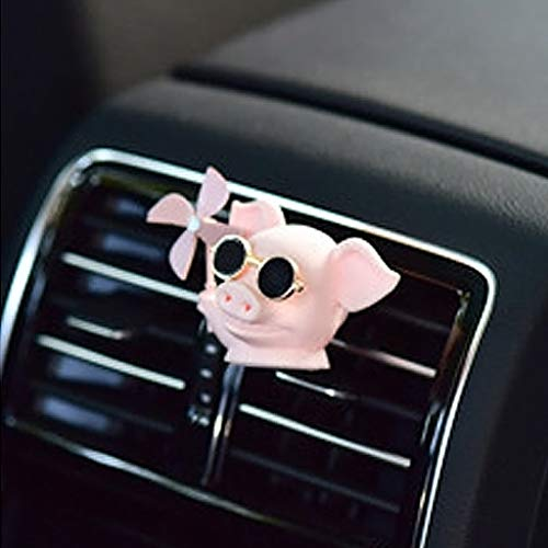 Broken Wind Pig, Aromatherapy Windmill Pig, Cute Pig Car Air Freshener Ornament Use for Car Air Conditioning Vent, Roof, Rearview Mirror, Engine Cover, Trunk, Center Console, Bicycle Head (Pink)