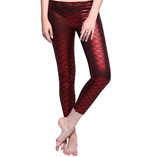 BESAZW Womens Shiny Mermaid Fish Scale Leggings Printing Full Length Stretch Soft Leggings Pants Plus Size Red XL
