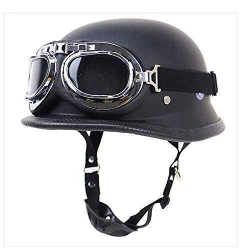 Aozu Motor Vintage Jet-Helmet Cascos de Motocicleta de Cara Abierta con Gafas de piloto Cruiser Wehrmacht Casco de Acero con certificación Dot Moto Army-Style (Negro)(1,M(57~58CM))