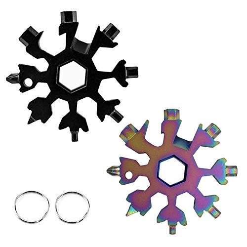 Jsdoin 18 en 1 copo de nieve Multi herramienta- Llavero copo de nieve, abridor de botellas, llave Allen portátil para viajes al aire libre