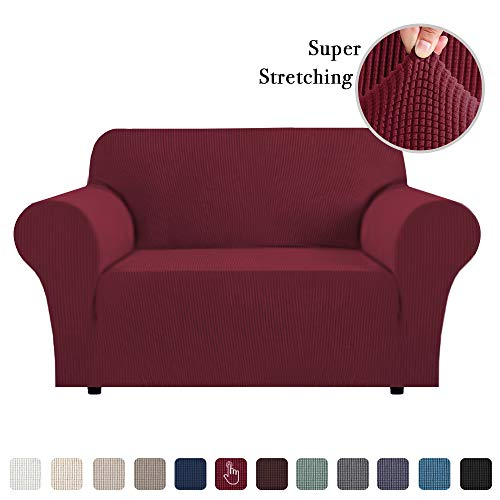 Flamingo P High Stretch One Piece Furniture Protector Sofa Cover for Durable Spandex Stretch Fabric Super Soft Slipcover, 2 Seater, Wine, Loveseat