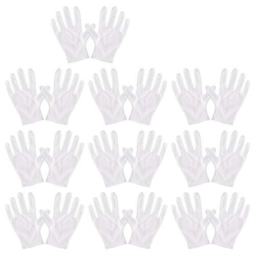 YIPIN Baumwollhandschuhe weiß Größe L, 10 Paar Weiße Handschuhe Baumwolle, für Hautpflege, Schmuck Untersuchen, Tägliche Arbeit