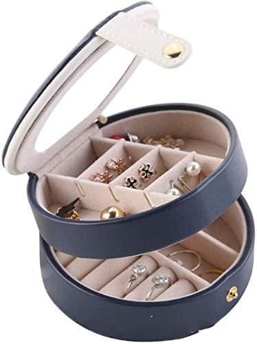 OH Caja de Joyería Organizador Showcase Locker Locker Joyería de Cuero Joyería Hecho a Mano Joyería Caja de Alenamiento Rack Joyería Soporte Soporte Alta capacidad/Azul Marino
