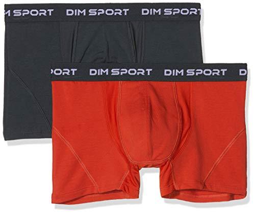 Dim Sous-vêtements Homme Herren Dim Boxer Maintien Fort X2 Boxershorts, Mehrfarbig (Rouge FEU/Gris Granit 8ol), Large (Herstellergröße: 4) (2er Pack)