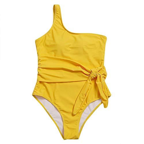 YANFANG Traje de Playa Mujer Sexy de Color sólido Ropa Interior Push Up High Cut Lace Up Halter Bikini Set...
