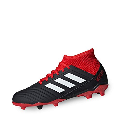 adidas Predator 18.3 Fg, Scarpe da Calcio Unisex-Bambini, Nero (Cblack/Ftwwht/Red Cblack/Ftwwht/Red), 38 EU