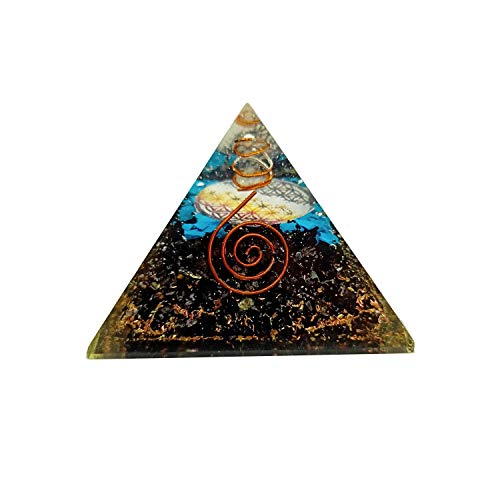 Sharvgun Black Tourmaline Turquoise Emf Protection and Meditation Pyramid Energy Generator Orgonite for Healing and Yoga 2.5-3 Inch