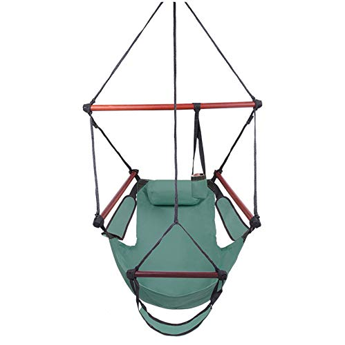 SPARSIFOLIA Well-Equipped Hammock Chair;S-Shaped Hook High Strength Assembled Hanging Seat;Superior Comfort & Durability;for Indoor & Outdoor Use;Cacolet Green