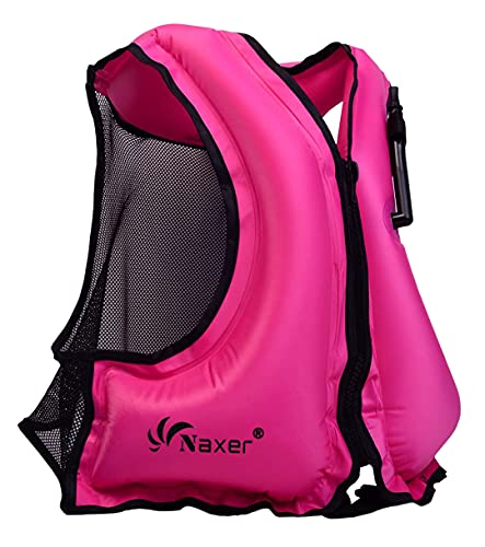 NAXER Inflatable Buoyancy Jackets Vests for Adults Kayak Kayaking Suit 90-220 lbs Easy Swimming Snorkeling Boating Paddleboarding Water Sports (Rose)