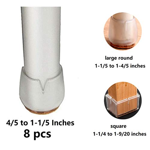 Bloss Chair Leg Feet Wood Floor Protectors Set, Slicone Furniture Chair Tips Carpet Saver with Felt Glides Pads, 4/5 to 1-1/5 Inch Round - Clear 8 Pack