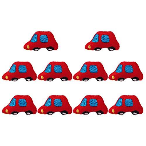 TOYANDONA 10 Stück Stoff Brosche Pin Auto Brosche Plüsch Abzeichen Brust Pin Corsage für Tasche Anzug Hemd (Rot)