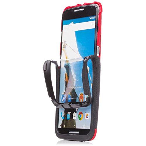 iCues Schutzhülle für Motorola Google Nexus 6   2 Part Touch Hülle Rot   Outdoor Dickes Hardcase Stoßfest Militär Lifeproof Männer Jungs 360 Grad Bildschirm Full Body R&um beidseitig Komplett vorne hinten double Front Hülle Cover Schutz