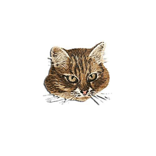 Parches - gato cabeza animal - marrón - 5,5x6,5cm - termoadhesivos bordados aplique para ropa