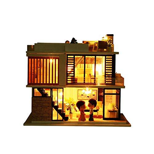 SinceY Hölzernes Puppenhaus mit Möbeln und Zubehör Miniatur-3D-Bastelsets für Erwachsene, Mini Florence DIY Kabine aus Holz Villa Puppenhaus kreatives Geschenk für Weihnachten Urlaub Geburtstag