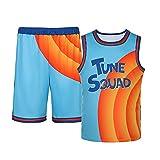 Nofonda Camisetas de baloncesto para hombre Space Jam 6# Jerseys Tune Squad Tank Top Camiseta sin mangas transpirable de secado rápido, azul, 42
