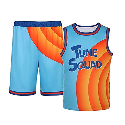 Nofonda Maillot de basketball pour homme Space Jam 6# Jerseys Tune Squad Débardeur sans manches respirant à séchage rapide, bleu, L