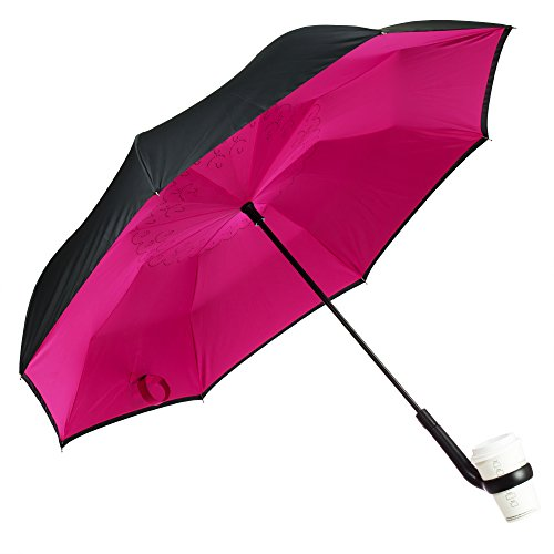 Cheap Urban Zoo Patent Pending Premium Inverted Umbrella W/Cup Holder Handle- Automatic Close, Creat...