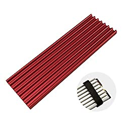 M.2 SSD Heatsink Aluminum with Silicone Thermal Pad for PCIe NVMe M.2 2282 SSD Drives Cooling Fin Radiation Dissipate in Laptop Computer and Desktop PC Three Colors Optional (red)