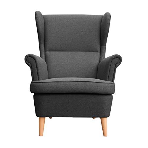 myHomery Sessel Luccy gepolstert - Ohrensessel Polsterstuhl für Esszimmer & Wohnzimmer - Lounge Sessel mit Armlehnen - Eleganter Retro Stuhl aus Stoff mit Holz Füßen - Anthrazit | Sessel