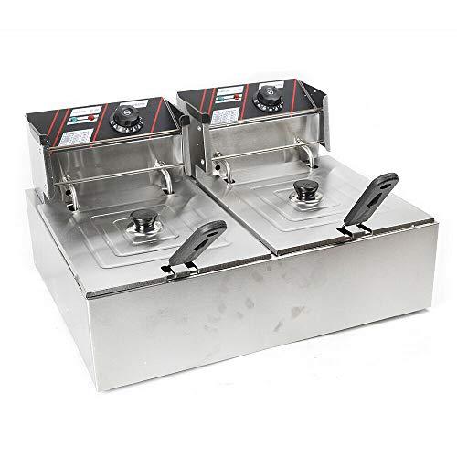 12 L Friggitrice elettrica doppia friggitrice inox 5000 W con doppio cestello per patatine, pollo, pesce e anelli di cipolla
