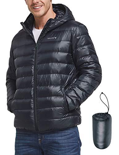 BALEAF Men's Lightweight Packable Hooded Down Jacket Dark Blue S
