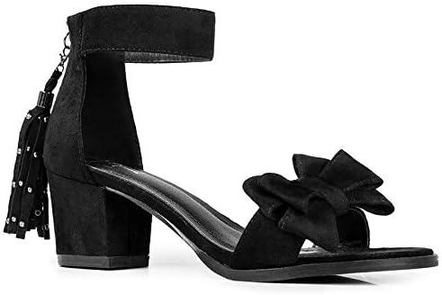 J. Adams April Heels for Women - Ankle Strap Low Heel Sandals with Bow & Tassel