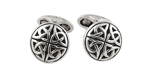 Celtic Trinity Knot Triquetra Men's Cuff Links - Sterling Silver, 1 Pair Cufflinks