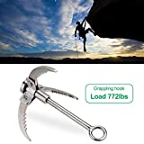 PFCKE Grappling Hook Upgraded with 3 Folding Sawtooth Survival Claws Lightweight Collapsible SUS304 Spring Steels Anchor Outdoor Gravity Carabiner Load 350Kg for Climbing, Hiking, or Tree Limb Removal