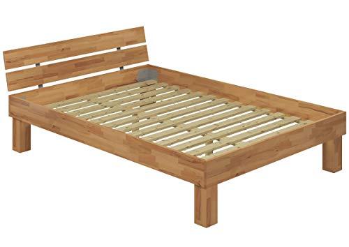 Erst-Holz® Hohes Massivholzbett Einzelbett Buche 120x200 Seniorenbett inkl. Rollrost 60.81-12