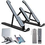 Acksonse Soporte para ordenador portátil, ajustable, ligero, antideslizante, elevador plegable, para portátil de 10 a 17 pulgadas, color negro