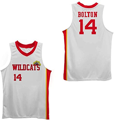 Zac E Troy Bolton 14 East High School Wildcats Claws White Stitch Basketball Jersey (34)