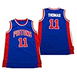 Isiah Thomas Men's Basketball Jersey, Detroit Pistons # 11 Camiseta Sin Mangas Camiseta De Malla Jersey Bordado Tela Transpirable Swingman Chaleco Top Limpieza Repet Blue-XXL