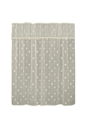 """Heritage Lace Sand Shell Shower Curtain and Valance Set, 72"""" by 72"""", Ecru"""