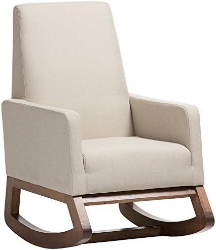 Best Baxton Studio Yashiya Mid Century Retro Modern Fabric Upholstered Rocking Chair, Light Beige