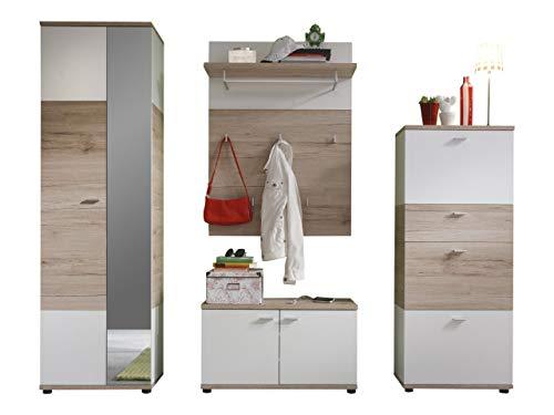 trendteam smart living Garderobe 4tlg.-Set Campus, 223 x 190 x 38 cm in Eiche San Remo (Nb.) und Weiß mit viel Stauraum und Ablagefläche