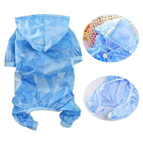 Raincoat Dog Raincoat Vêtement imperméable Protection Contre Le Soleil d'été Nouveau Minces Quatre Pieds Vêtements Raincoat Teddy Pet Dog for Les Chiots Petits Chiens (Color : Blue, Size : L)