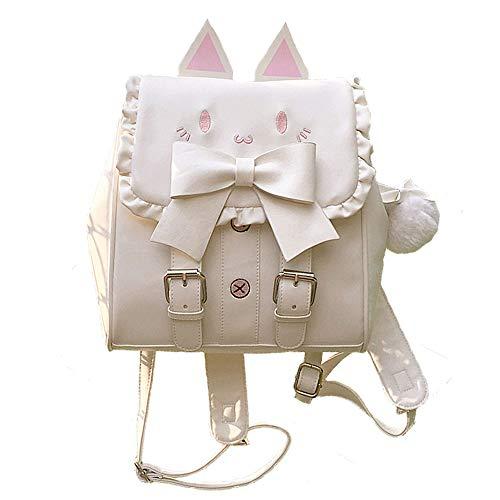 Lolita Sac à dos pour femme Motif chat Kawaii brodé Grand nœud, blanc, taille unique
