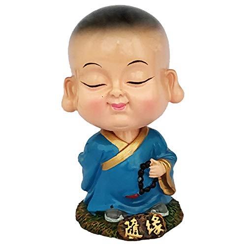 Divya Mantra Bobblehead Figure for Office, Car Dashboard Bobble Head Spring Shaking Rosary Lama Buddha Kids Toy Doll Showpiece, Collection Figurines, Home Decor/Yoga Meditation Room Decoration -Blue