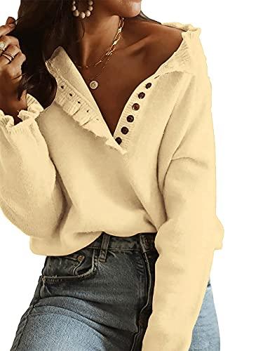 HESUUIO Jersey de punto para mujer, cuello en V, grande, sin hombros, manga larga, túnica, suelto, de punto, amarillo, S