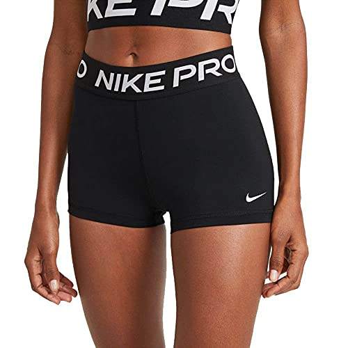 NIKE Women's Pro Short, Noir Blanc, Small