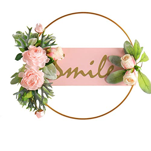 Santen Door Garland Simulation Garland and Summer Garland Wall Decor, with Green Leaves, Used for The Front Door Wall Wedding Party 34x40cm