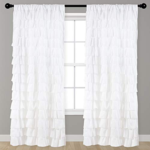 Kotile Watterfall Ruffled White Fabric Window Horizontal Stripes Style Rod Pocket Pleated Curtains for Living Room, 1 Panel 84 Inch Length Gypsy Ruffle Layer Lined Panel for Girs Room