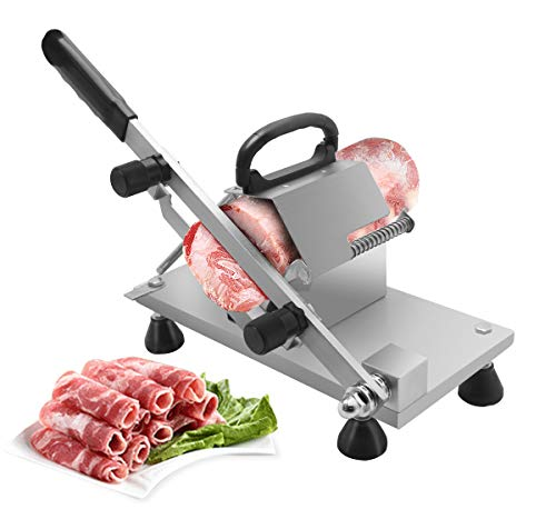 BAOSHISHAN Manual Frozen Meat Slicer Slicing Machine Stainless Steel Meat Cleaver for Beef Mutton Roll Bacon Cheese Vegetable Home Use Hotpot Shabu Shabu